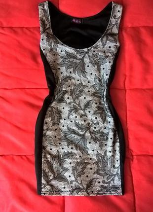 Качественное платье-майка с черными вставками по бокам
