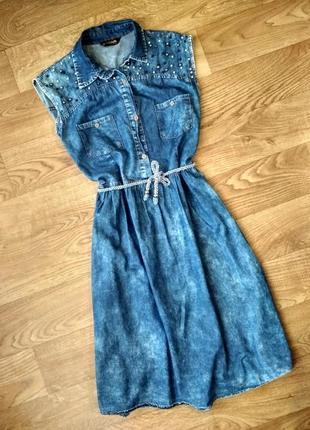 Джинсовое платье, сарафан, варенка, размер 46