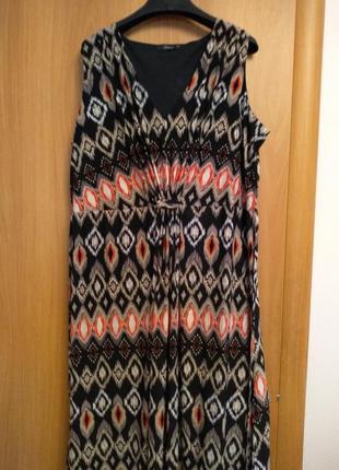 Цветное трикотажное платье в пол. размер 24.