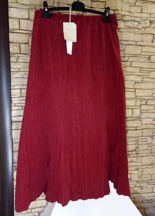 Трендовый цвет《красная груша》длинная микровельветовая жатая юбка