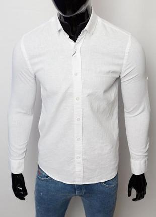 Рубашка мужская льняная figo 15276 с регулировкой рукава белая