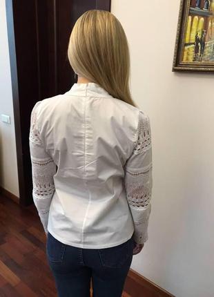 Белая блуза с кружевом4 фото
