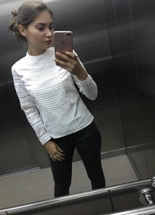 Белая блуза с кружевом6 фото
