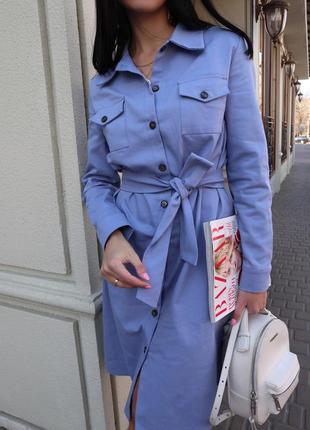Женское повседневное платье в стиле сафари с карманами на пуговичках! джинс котон голубое