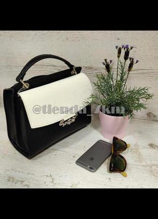 Женственная сумка от david jones с листиками и брошью 6001-2t  черно-белый