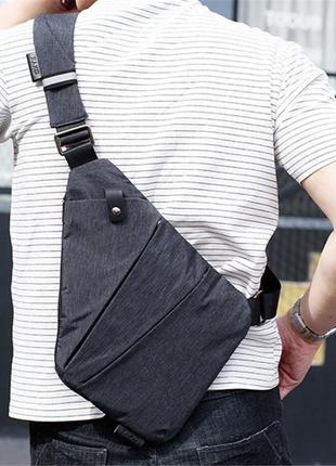 Мужская сумка через плече мессенджер cross body (кросс боди) серая
