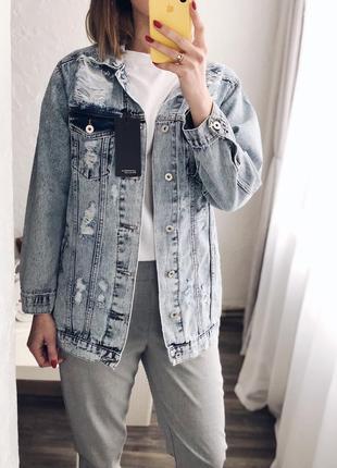 Джинсова куртка (джинсовка) подовжена оверсайз новинка 2019