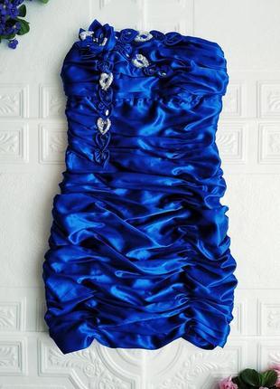 Короткое атласное вечернее платье бюстье ses exclusive, на выпускной