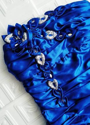 Короткое атласное вечернее платье бюстье ses exclusive, на выпускной2 фото