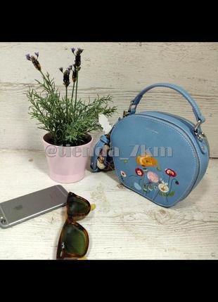 Круглый клатч от david jones с вышивкой и с платком cm3765t l.blue