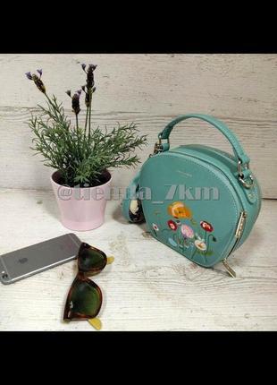Круглый клатч от david jones с вышивкой и с платком cm3765t l.green