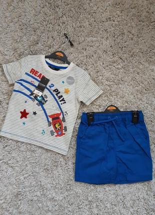 Костюм летний на мальчика футболка и шорты george 2-3 года