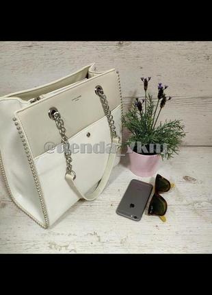 Женская сумка на цепочке от david jones 5904-2t белая