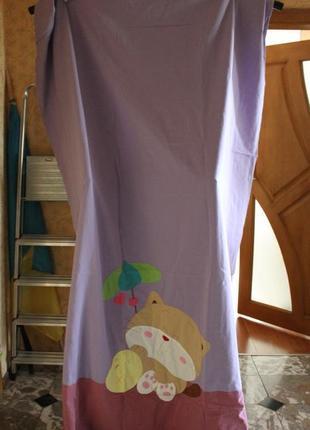 Шторы для детской комнаты с котиком ( фиолетовый цвет )5 фото