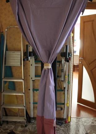 Шторы для детской комнаты с котиком ( фиолетовый цвет )4 фото