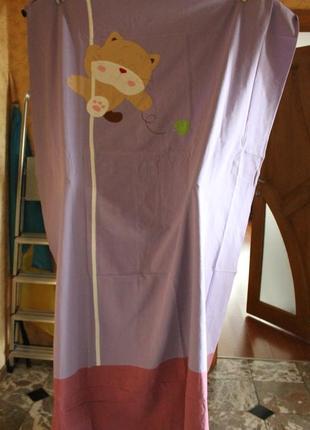 Шторы для детской комнаты с котиком ( фиолетовый цвет )3 фото