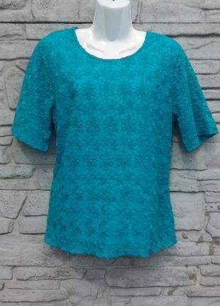 Шикарная, кружевная блуза цвета морской волны