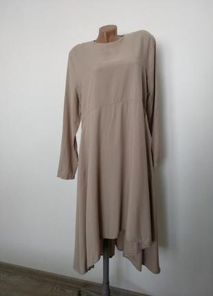 Нюдовое платье с удлиненной спинкой buglem