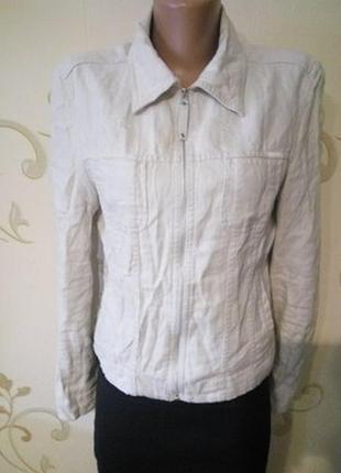 Льнаяная летняя курточка куртка ветровка пиджак рубашка . 100% лен