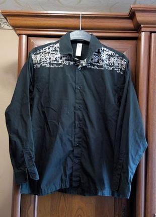 Черная коттоновая рубашка с надписями bhs