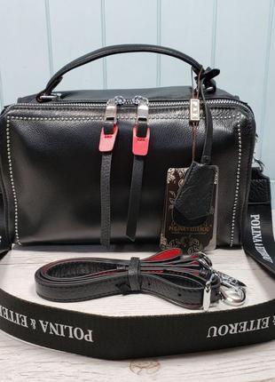 Женская кожаная сумка polina & eiterou чёрная жіноча шкіряна сумка чорна