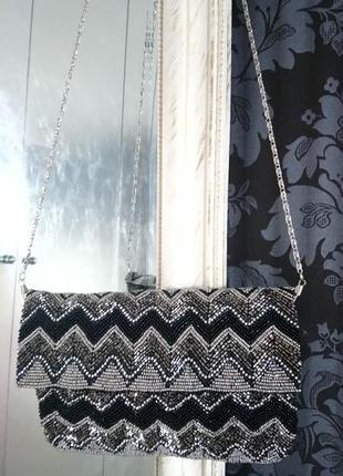 Новая вечерняя сумочка расшита бисером стразами клатч или на длинном ремешке