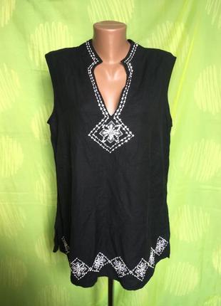 Стильная этно блуза из льна машинная вышивка