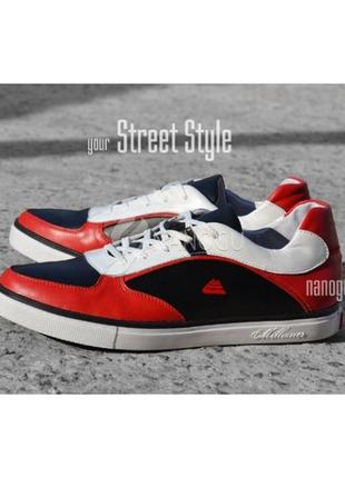 Premium кроссовки мужские кожаные millioner черные белые красные на шнуровке украина