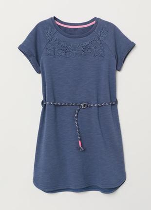 Байковое платье с поясом 6-8у(122-128см)