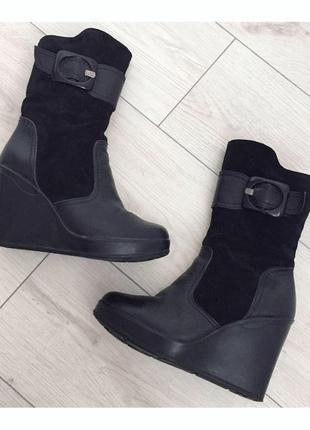 Женские кожаные зимние сапоги на платформе.сапожки танкетка платформа ботинки ботильоны.