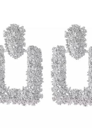 Серебрянные фактурные серьги