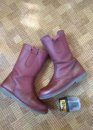 Кожаные сапоги ботинки демисезон john lewis - 32р., стелька 21см.