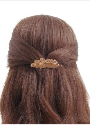 Заколка украшение для волос перо бохо этно стиль5 фото