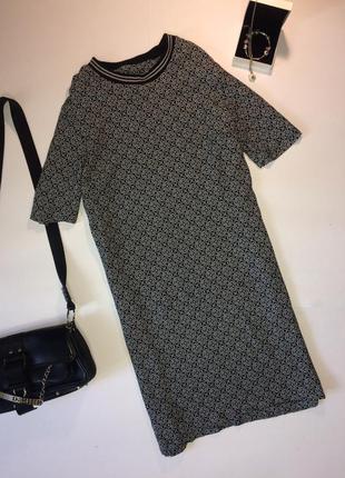Next прямое платье с мелким рисунком m l