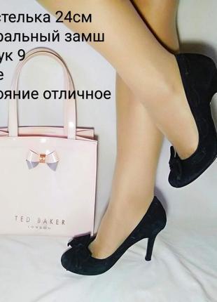 🍭замшевые черные туфли на каблуке🍭