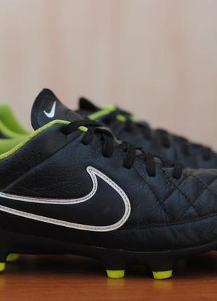 a59b0442 Черные кожаные футбольные бутсы nike tiempo, найк темпо. 39 - 40 размер.  оригинал