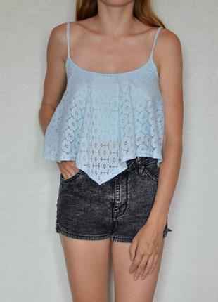 Блуза топ с кружевом голубая new look блуза топ