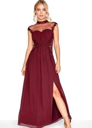 Выпускное платье винного цвета британского бренда платьев little mistress