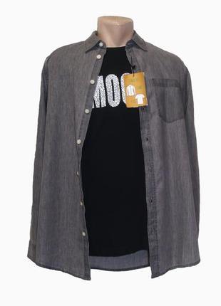 Мужской комплект (джинсовая рубашка и футболка) piazza italia. разные цвета.
