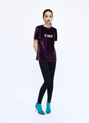 Стильная бархатная футболка от zara