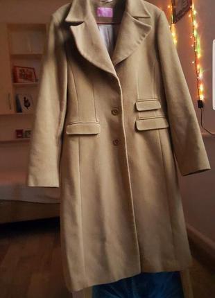 Женское бежевое пальто куртка тренч шуба шерстяное теплое оверсайз