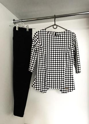 Брючный модный повседневный женский костюм блузка кофта в горошек с брюками штанами