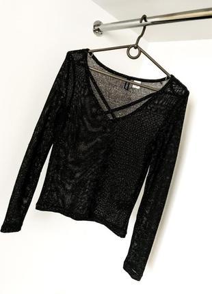Нарядная женская блестящая кофта сетка летняя прозрачная блузка v вырез люрекс декольте