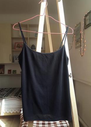 Женская черная майка футболка топ на бретельках летняя