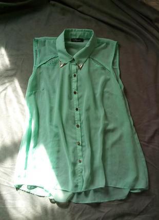 Мятная блуза - рубашка