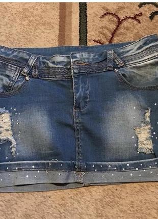 Джинсовая стильная мини юбка