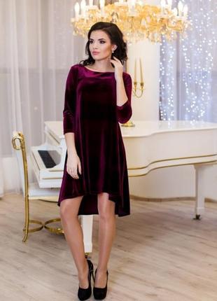 Красивое бордовое платье велюр
