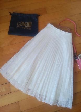 Нежнейшая юбка плиссе миди из кружева topshop