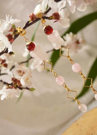 Серьги (клипсы) с малиновым и розовым кварцем ′стрелы амура′