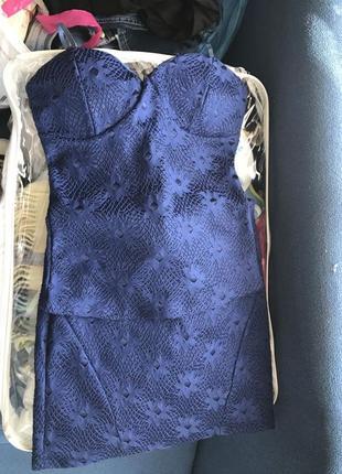 Костюм ажурный кружево синий корсет